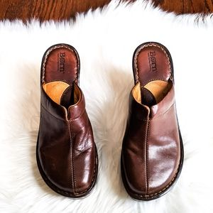 Born BROWN Leather Open Back Clogs